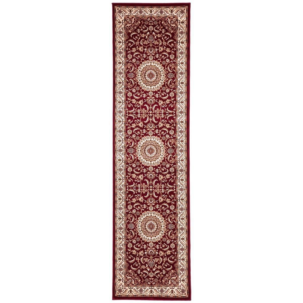 Sydney Medallion Turkish Made Oriental Runner Rug, 300x80cm, Red / Ivory