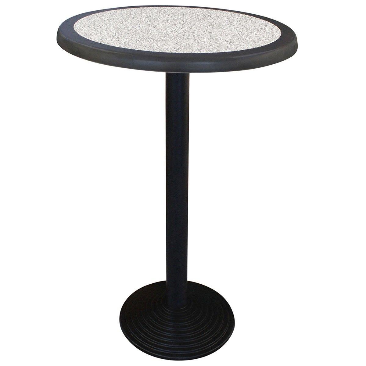 Cascina Commercial Grade Round Bar Table, 70cm, Pebble / Black