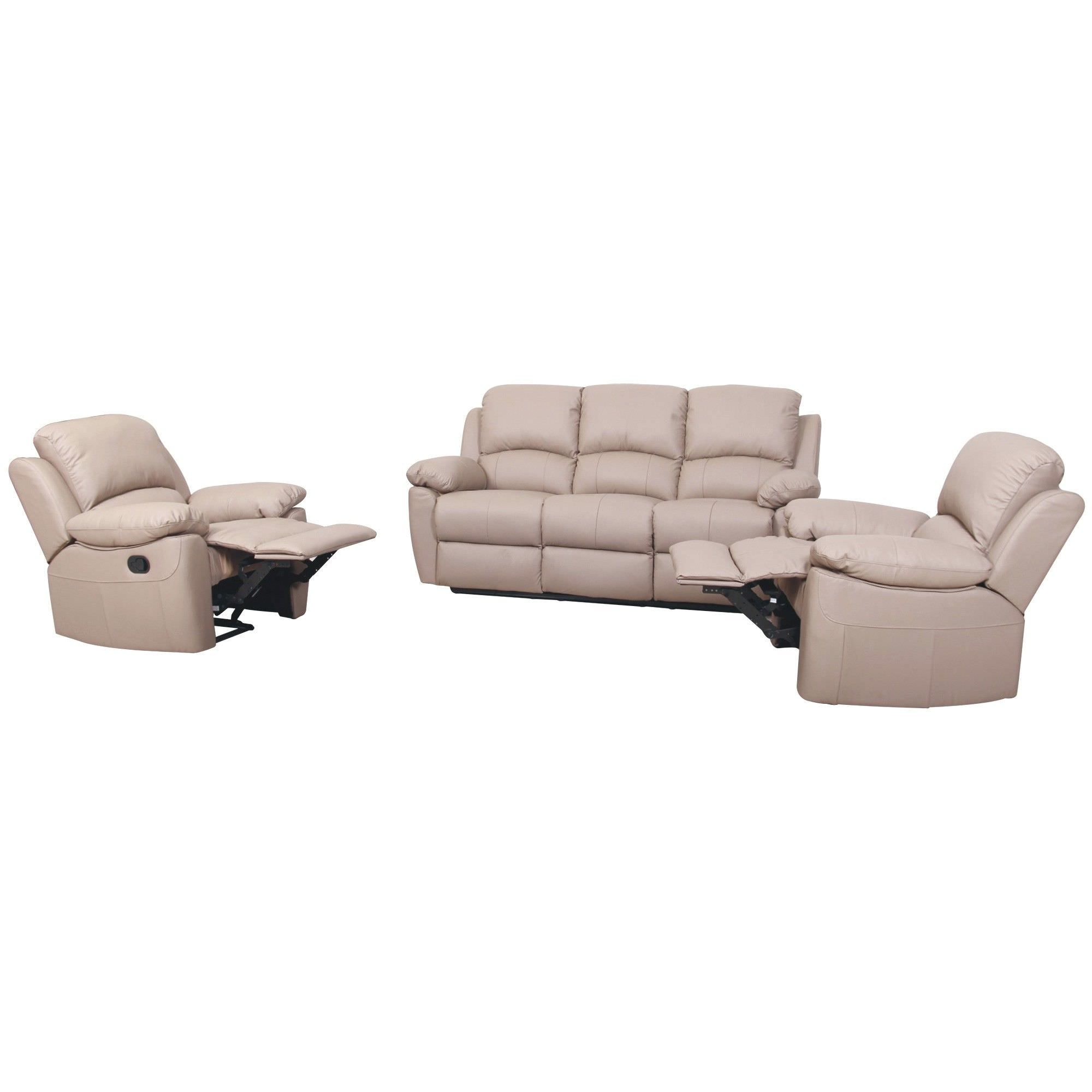 Connie Leather 3+1+1 Recliner Sofa Set, Taupe