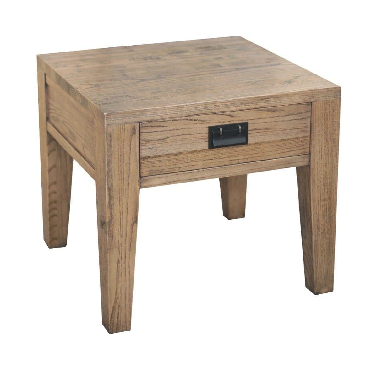 Sherwood Solid Oak Timber Side Table, Natural Oak