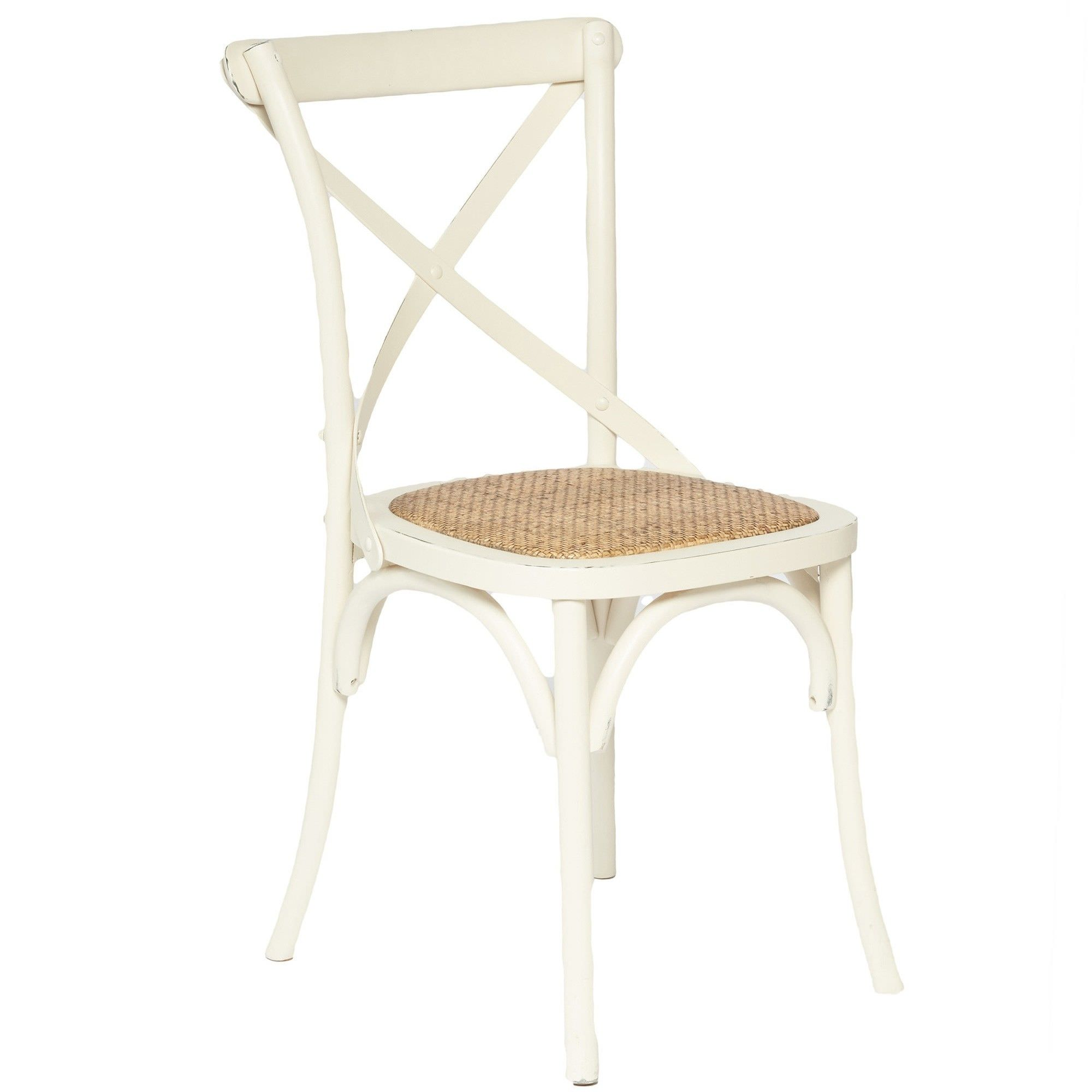 Sherwood Solid Oak Timber Cross Back Dining Chair with Rattan Seat - Distressed White