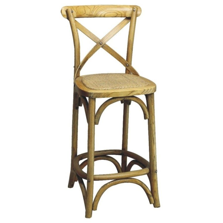 Sherwood Solid Oak Timber Cross Back Counter Chair with Rattan Seat, Distressed Natural