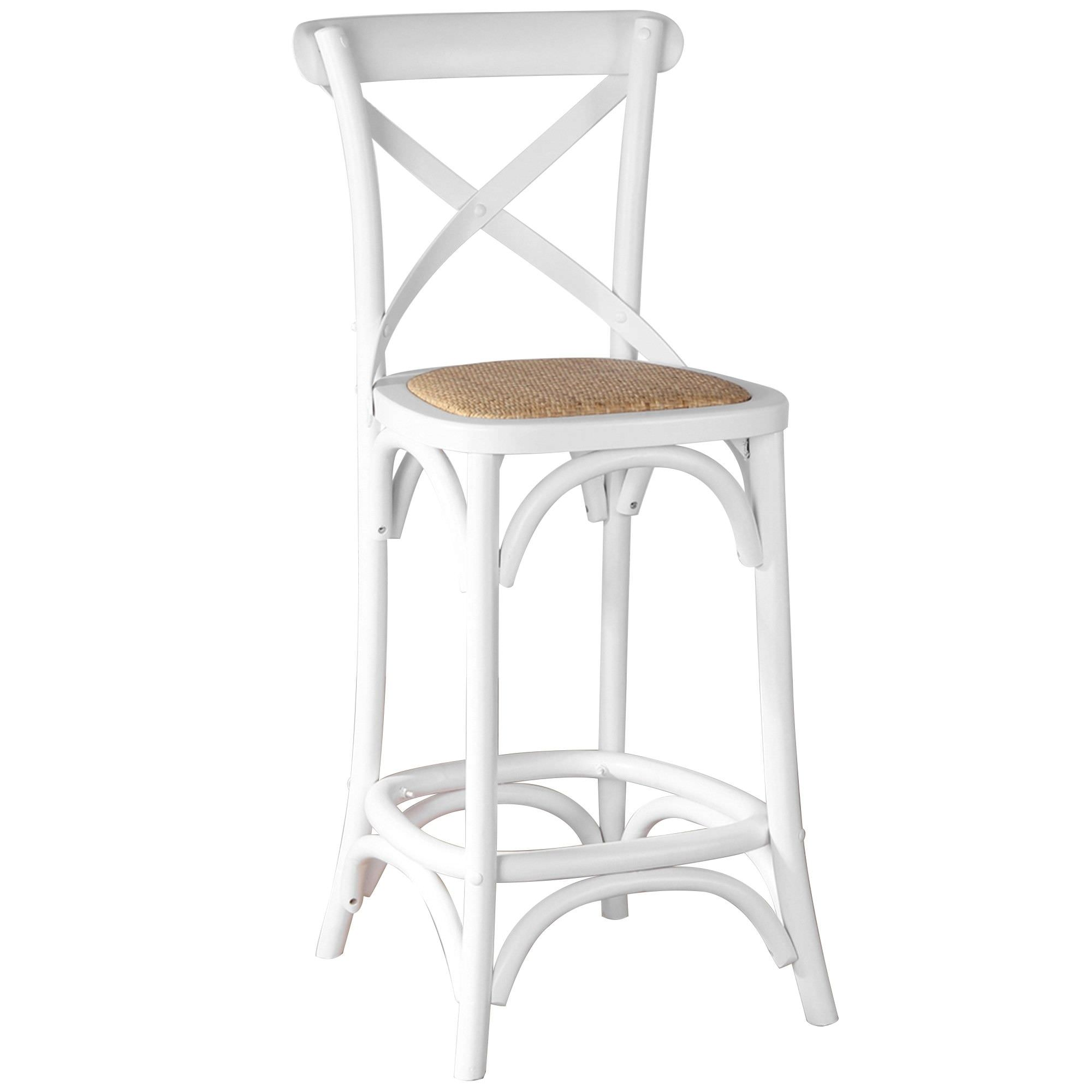 Sherwood Solid Oak Timber Cross Back Counter Chair with Rattan Seat, Distressed White