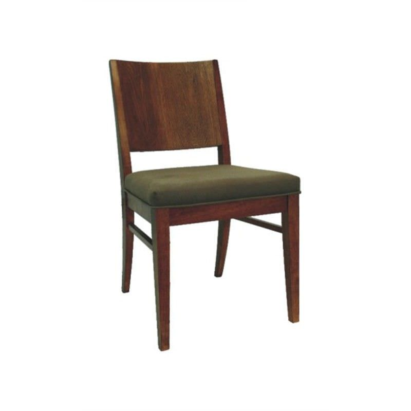 Mali Solid Rubber Wood Timber Dining Chair with Cushion Seat - Chocolate