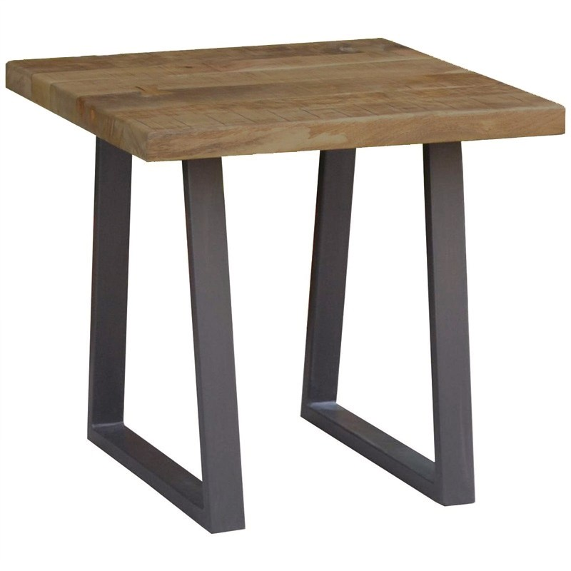 Udall Mango Wood Timber and Metal Side Table
