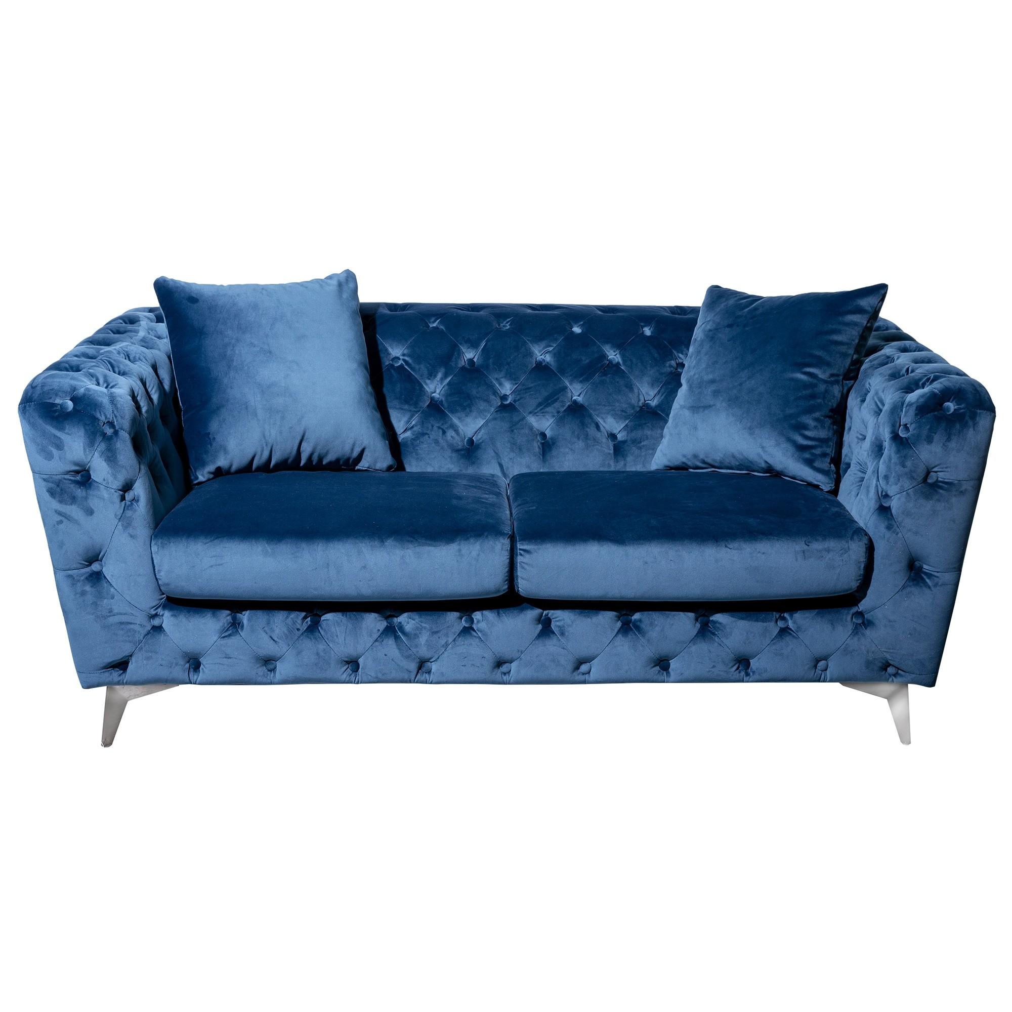Potton Tufted Fabric Sofa, 2 Seater, Blue