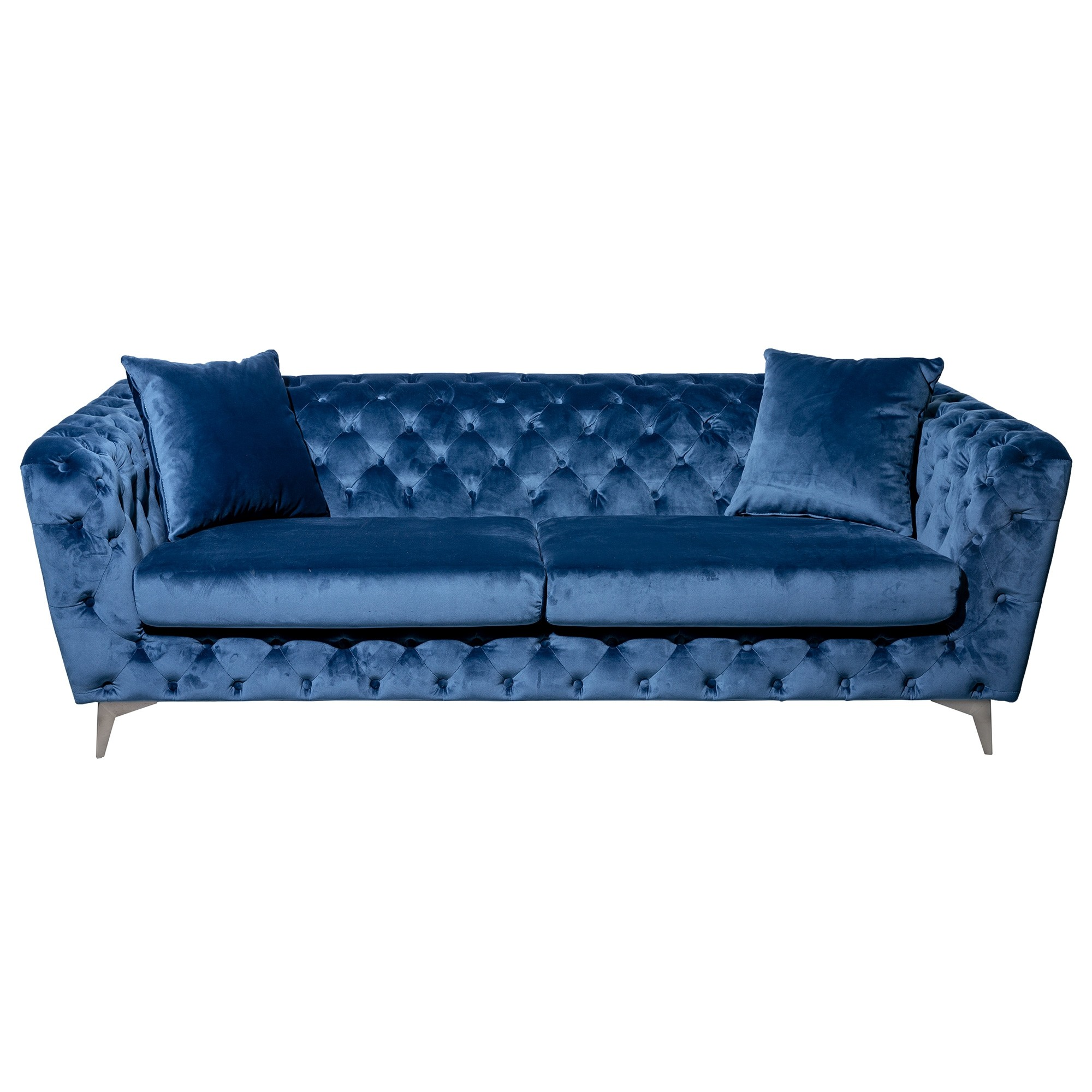 Potton Tufted Fabric Sofa, 3 Seater, Blue