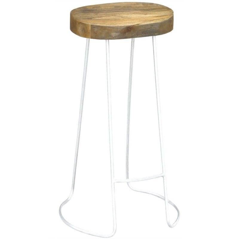 Hannah Metal Wire Bar Stool with Timber Seat,  Natural/Distressed White