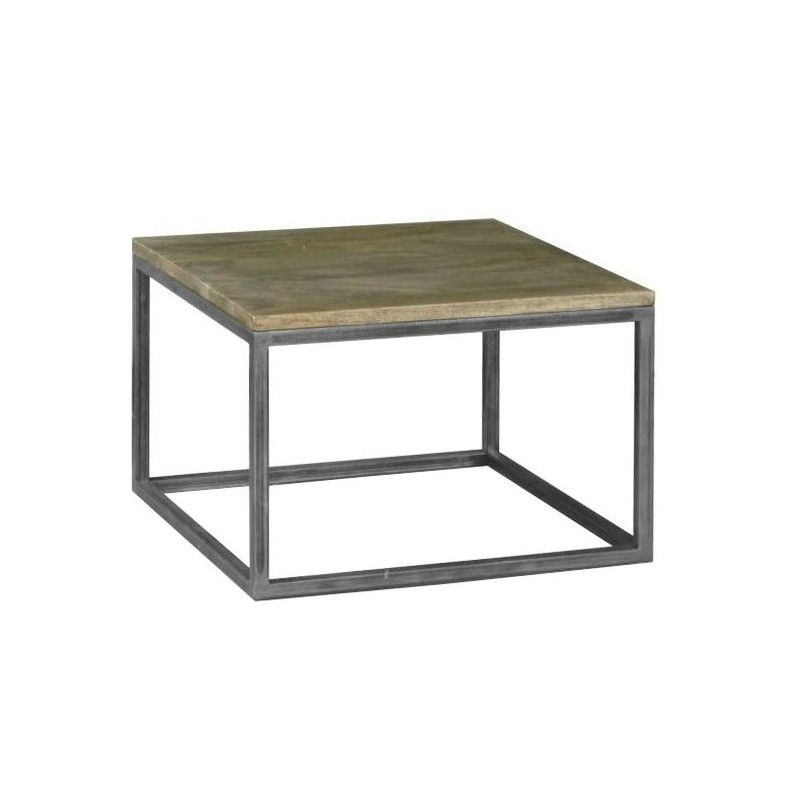 Byrne Solid Mango Wood Timber & Metal Lamp Table