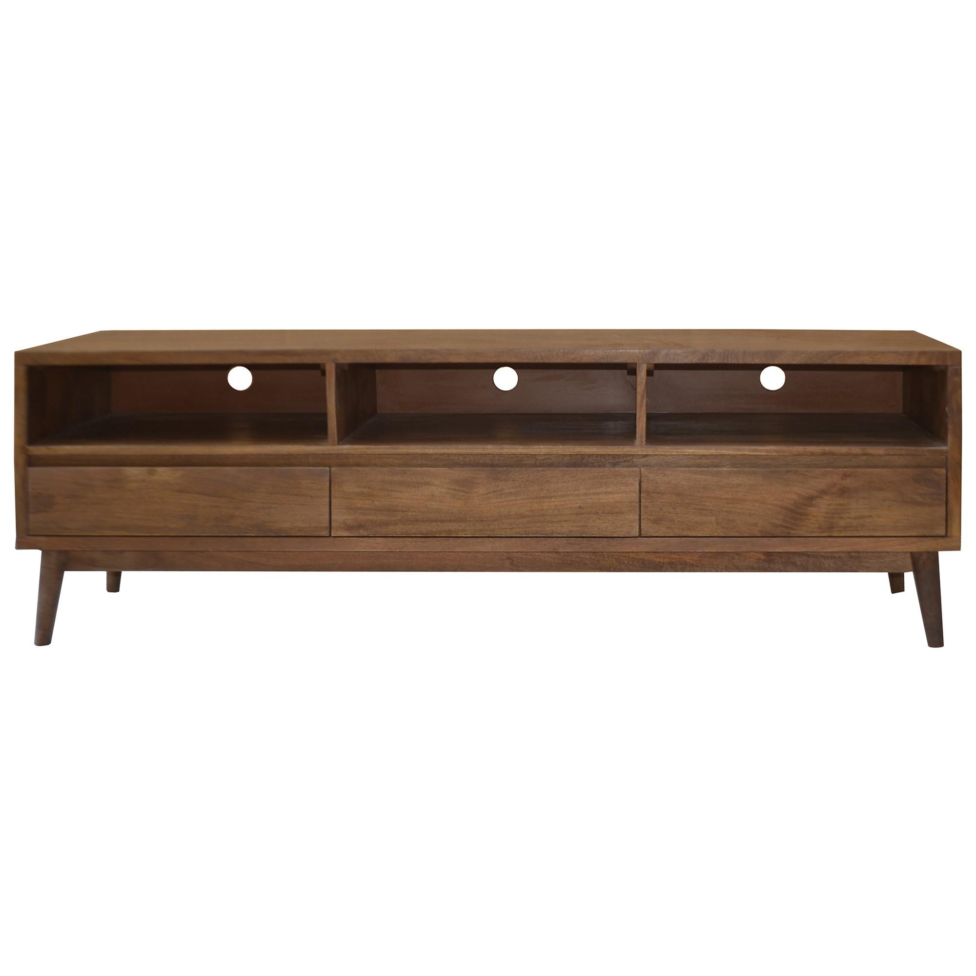 Stuart Solid Mango Wood Timber 3 Drawer 170cm TV Unit
