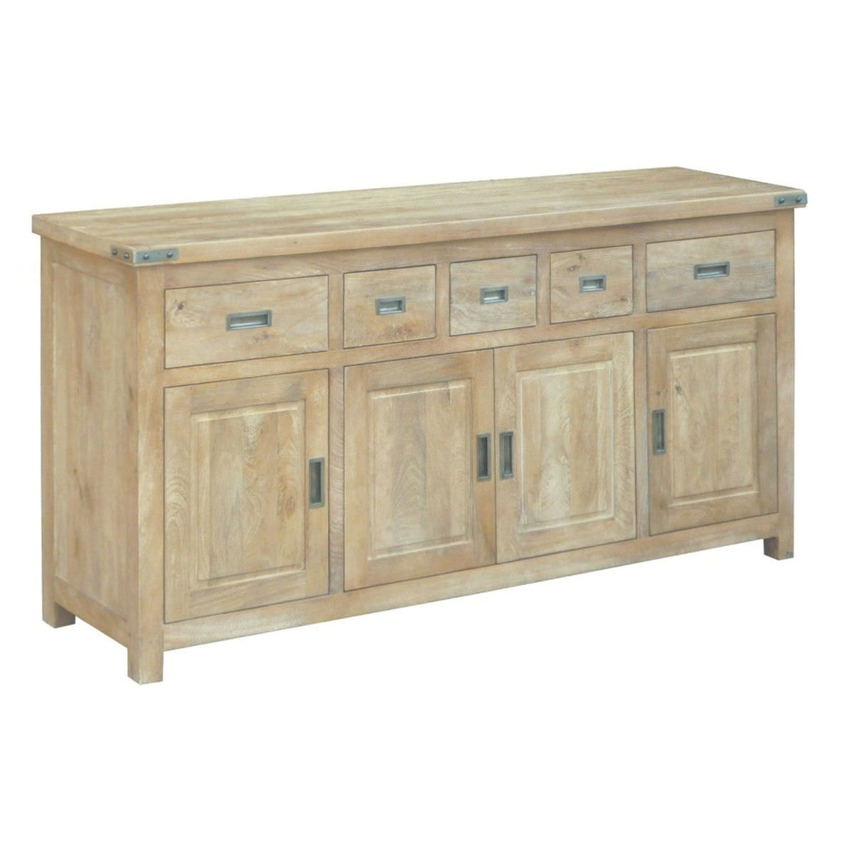 Oatley Mango Wood 4 Door 5 Drawer Buffet Table, 180cm, Honey Wash