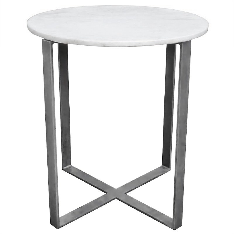 Lorne Marble and Iron Round Side Table