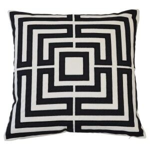 Acapulco Fabric Indoor / Outdoor Scatter Cushion Cover, Black / Ecru