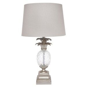 Langley Cut Glass Pineapple Base Table Lamp , Antique Silver