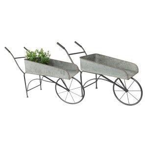 Lugos 2 Piece Metal Wheelbarrow Planter Holder Set