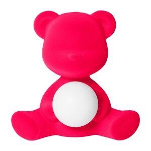 Qeeboo Teddy Girl Rechargeable LED Table Lamp, Fuchsia Velvet