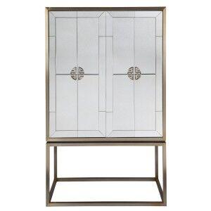 Rochester II Antique Mirrored 2 Door Bar Cabinet