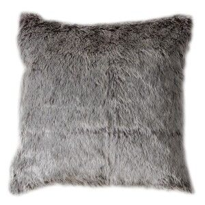 Alaskan Wolf Faux Fur Scatter Cushion, Chocolate