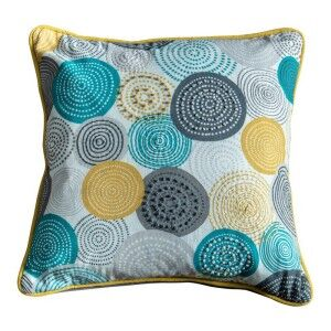 Orb Cotton Scatter Cushion, Teal / Ochre