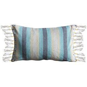 Gala Cotton Lumbar Cushion, Teal / Grey