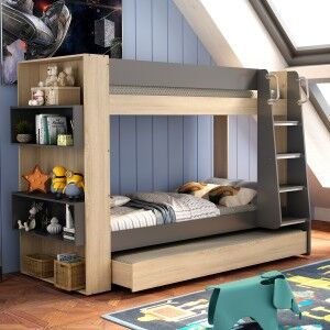 Kingsley Bunk Bed with Book Shelf, Single