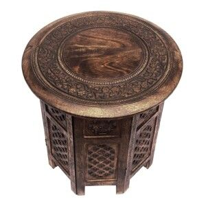 Carved Rubber Wood Timber Round Side Table, Burnt Natural