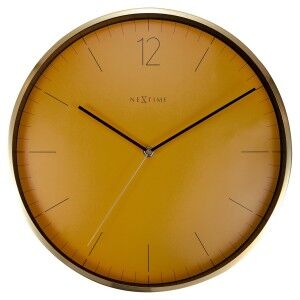 Nextime Essential Gold Metal Round Wall Clock, 34cm, Orange
