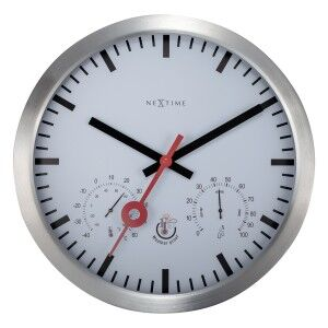 NeXtime Weatherman-II Outdoor Round Wall Clock with Thermometer & Hygrometer, 35cm