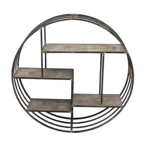 Selous Wood & Metal Round Wall Shelf