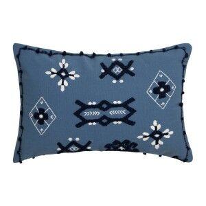 Sedona Embroidered Cotton Lumbar Cushion, Steel Blue