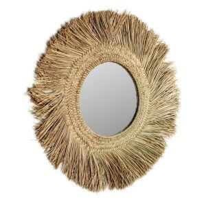 Ritto Hand Braided Mendong Grass Frame Round Wall Mirror, 72cm