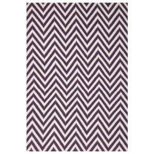 Modern Double Sided Flat Weave Chevron Design Cotton & Jute Rug in Purple - 225x155cm