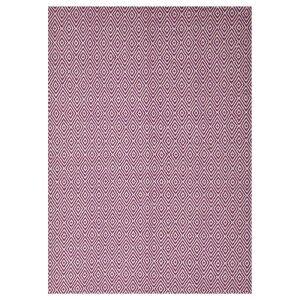 Modern Double Sided Flat Weave Diamond Design Cotton & Jute Rug in Pink - 225x155cm