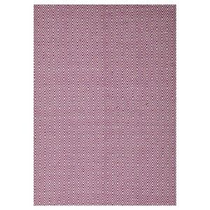 Modern Double Sided Flat Weave Diamond Design Cotton & Jute Rug in Pink - 320x230cm