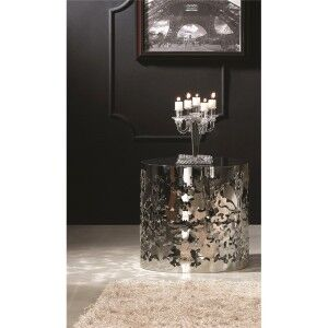 Ochota Stainless Steel Round Side Table with Glass Top