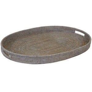 Savannah Rattant Oval Tray, Large, White Wash