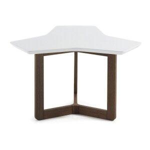 Amias Triangle Coffee Table, 76cm, White / Walnut