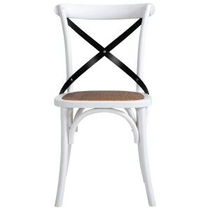 Cottrell Commercial Grade Wooden Cross Back Dining Chair, Set of 2, White with Metal Cross