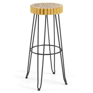 Evans Timber Seat Metal Counter Stool, Gold/Black