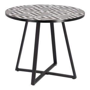 Ira Ceramic Tile Top Steel Round Alfresco Dining Table, 90cm