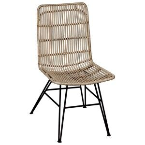 Beau Rattan and Iron Dining Chair