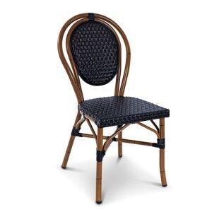 Paris Commercial Grade  Indoor/Outdoor Wicker Dining Chair, Black