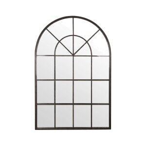 Ridley Iron Frame Arch Window Wall Mirror, 135cm