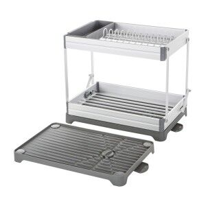 Remo Metal Collapsible 2 Tier Dish Rack