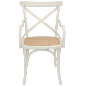 Esai Solid Oak Timber Armchair with Rattan Seat - Stone