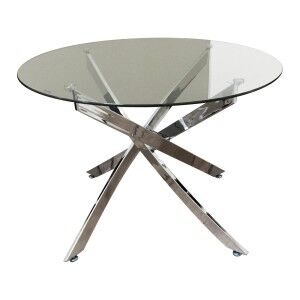 Torres Glass Topped Metal Round Dining Table, 110cm