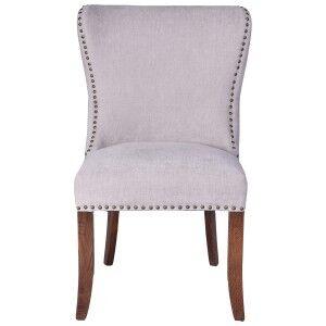 Bosco Linen Fabric Dining Chair, Grey / Maroon
