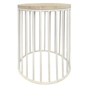 Finn Sunkai Wood & Steel Round Side Table, White
