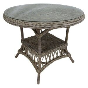 Frenchie Glass Topped Rattan Round Dining Table, 100cm