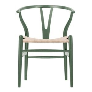 Wishbone Ash Timber Chair, Twine Seat, Deep Olive / Natural